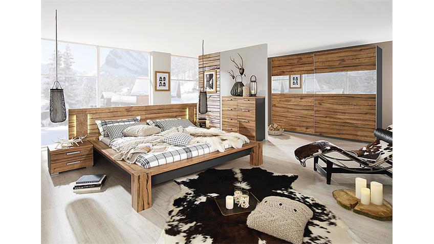 Bett DAVOS Wildeiche Graphit mit Paneel 160x200