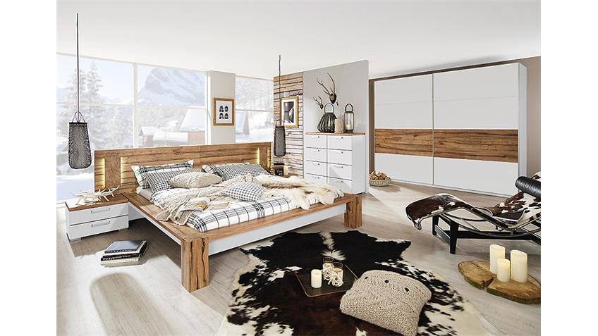 Bett DAVOS Wildeiche Weiß mit Paneel 160x200