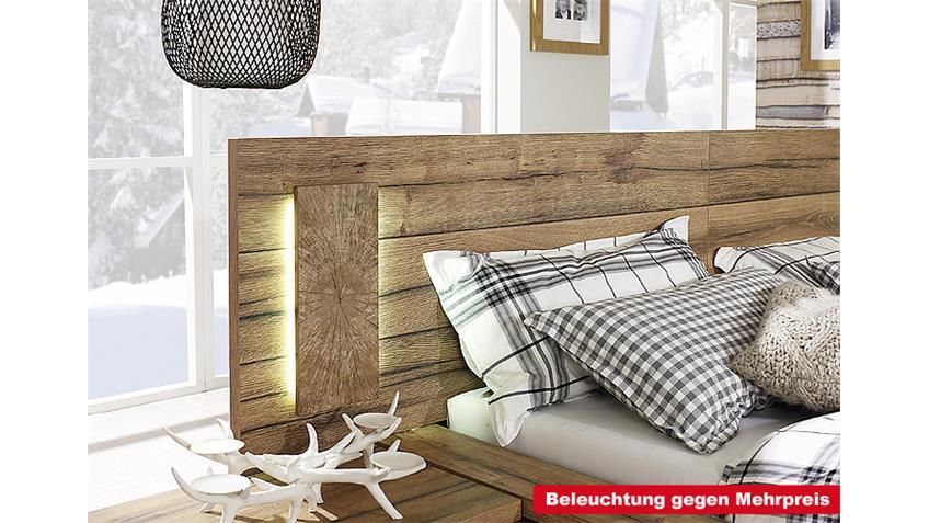 Bett DAVOS Wildeiche Weiß mit Paneel 180x200