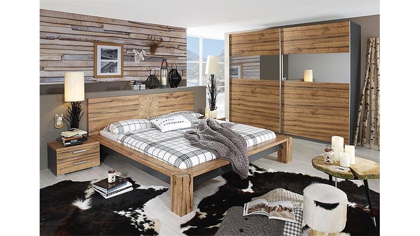 Schlafzimmer I DAVOS Wildeiche Graphit Spiegel Bett 180x200