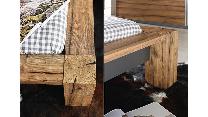 Schlafzimmer IV DAVOS Wildeiche Graphit Spiegel