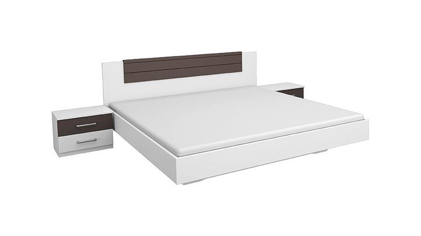 Bettanlage BARCELONA Weiß Lavagrau 180x200