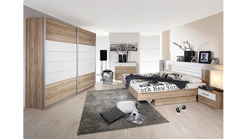Bettanlage BARCELONA San Remo Eiche hell Weiß 180x200