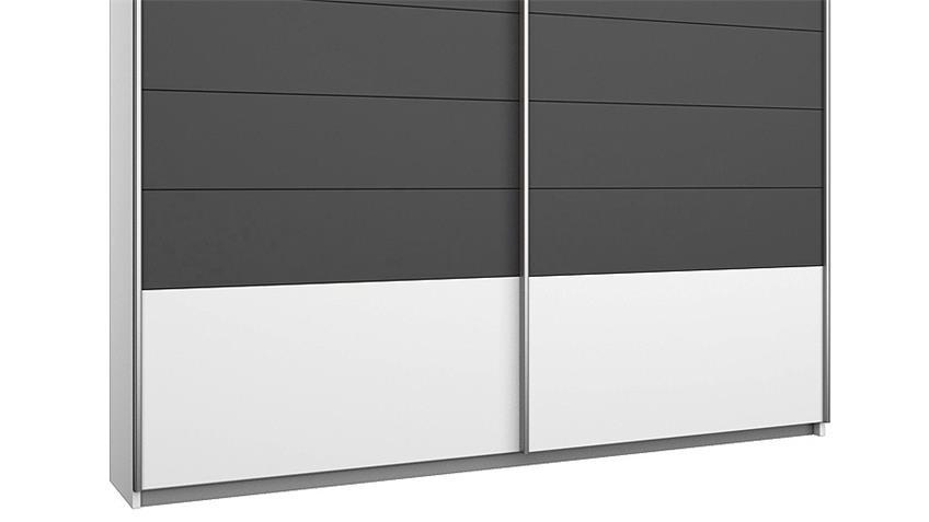 Schwebetürenschrank BARCELONA Weiß Grau-Metallic 181 cm
