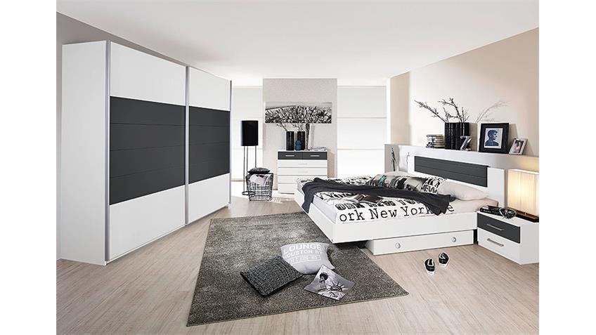 Schwebetürenschrank BARCELONA Weiß Grau-Metallic 226 cm