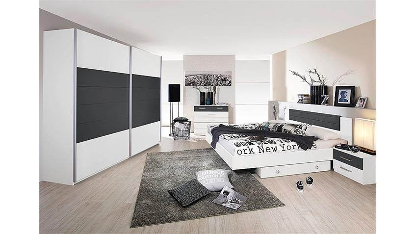 Schwebetürenschrank BARCELONA Weiß Grau-Metallic 271 cm