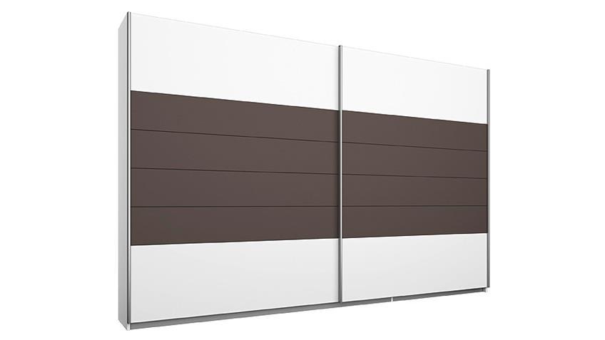 Schwebetürenschrank BARCELONA Weiß Lavagrau 271 cm