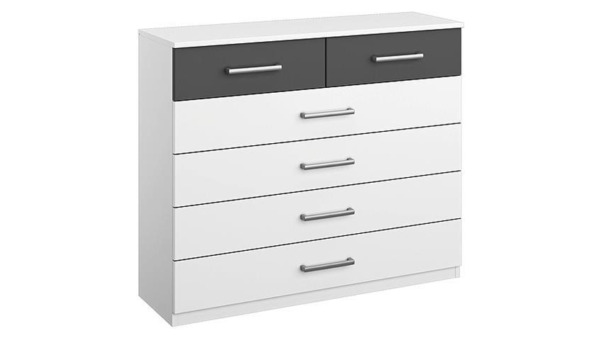 Kommode BARCELONA Schubkommode in weiß und grau Metallic