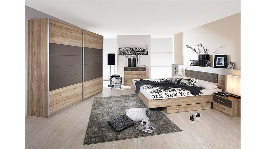 Schlafzimmerset BARCELONA San Remo Eiche hell Lavagrau
