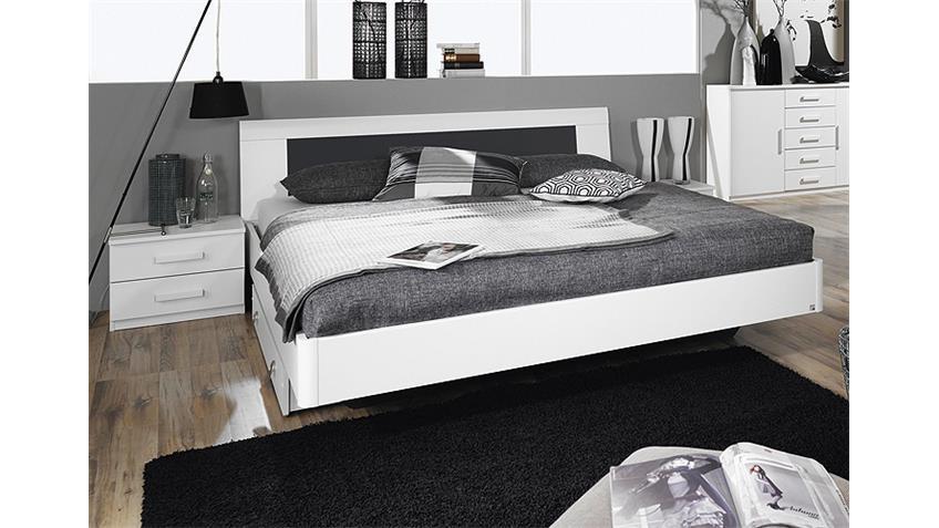 Bettanlage NARBONNE Schlafzimmer in weiß Basalt 160x200