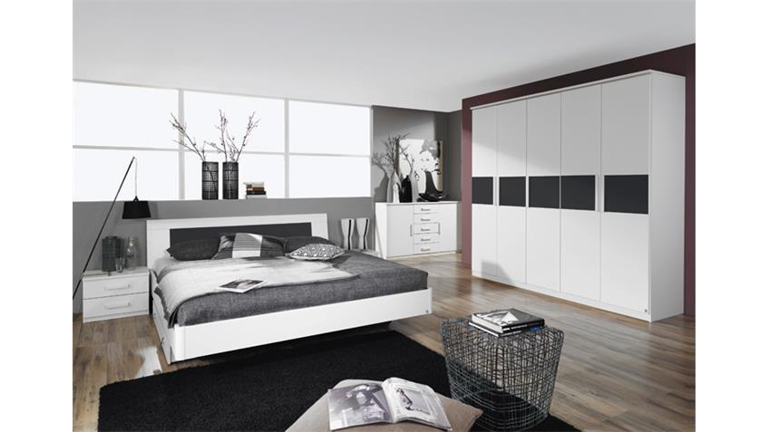 Bettanlage NARBONNE Schlafzimmer in weiß Basalt 180x200