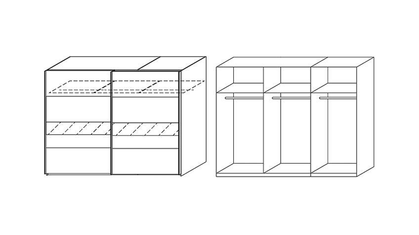 Schwebetürenschrank NARBONNE Kleiderschrank in weiß 271 cm