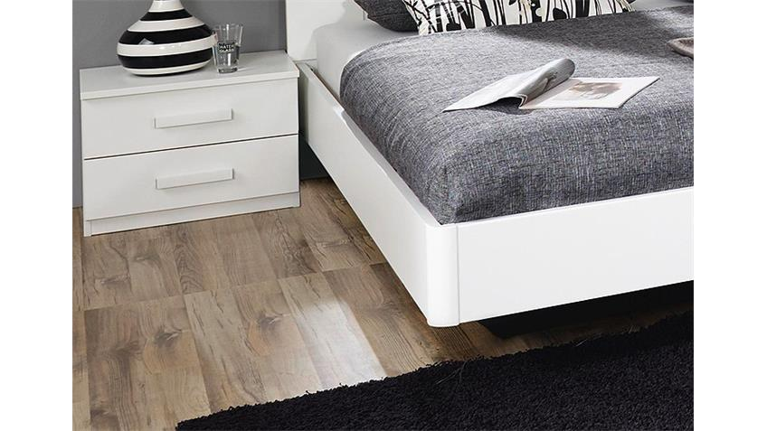 Schlafzimmer NARBONNE Bett Schrank Nako in weiß und Basalt