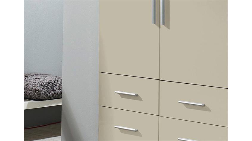 Kleiderschrank CELLE Sandgrau Hochglanz Weiß 91 cm