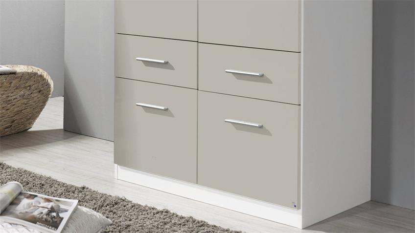 Kleiderschrank 3121 CELLE soft grey Hochglanz weiß 91x197