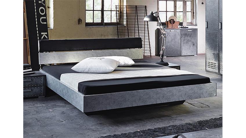 Bett WORKBASE Schwarz Silber Industrieoptik 140