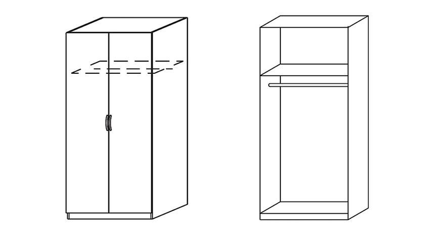 Kleiderschrank II CASE Drehtürenschrank Schrank weiß 91 cm