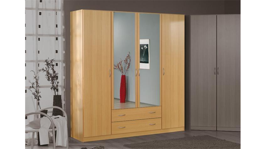 Kleiderschrank CASE Buche hell Spiegel 181 cm