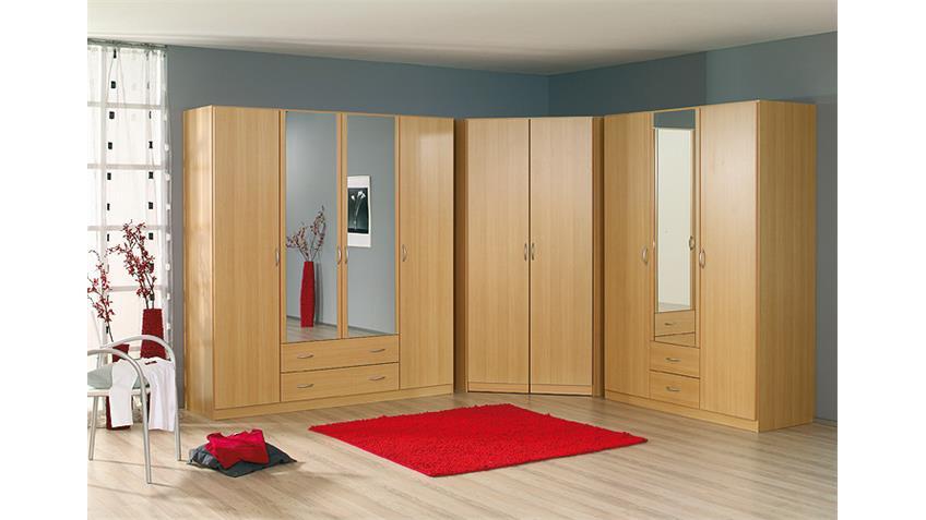 Kleiderschrank-Kombination CASE Buche hell Spiegel