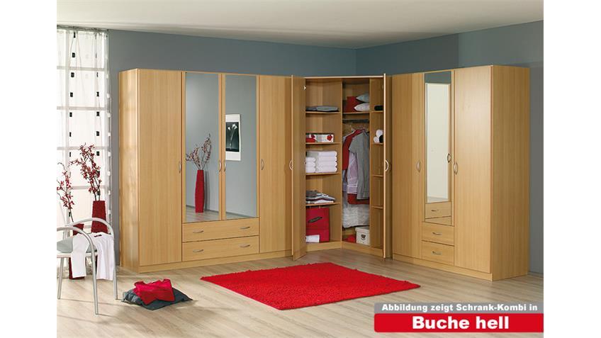 Kleiderschrank-Kombination CASE Weiß Spiegel