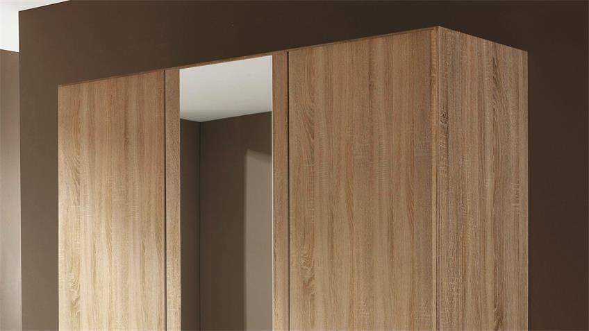 Kleiderschrank AALEN Eiche Sonoma mit Spiegel 136 cm