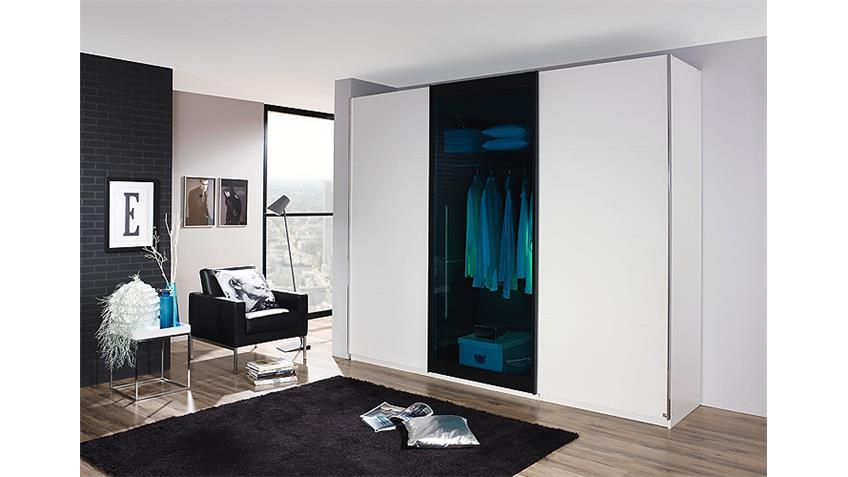 Schwebetürenschrank LAHTI Weiß Petrol Glas 226 cm