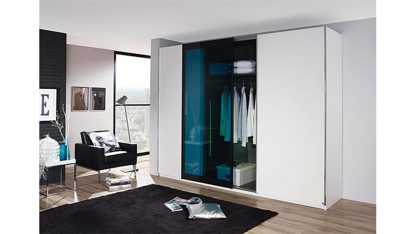 Schwebetürenschrank LAHTI Weiß Petrol Glas 270 cm