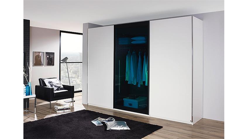 Schwebetürenschrank LAHTI Weiß Petrol Glas 315 cm
