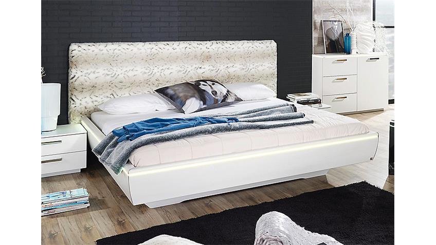 Bett LAHTI in Weiß mit Kunstpelz und Beleuchtung 140x200 cm