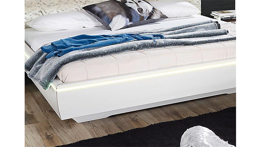 Bett LAHTI Weiß Pelz inklusive Beleuchtung 140 cm