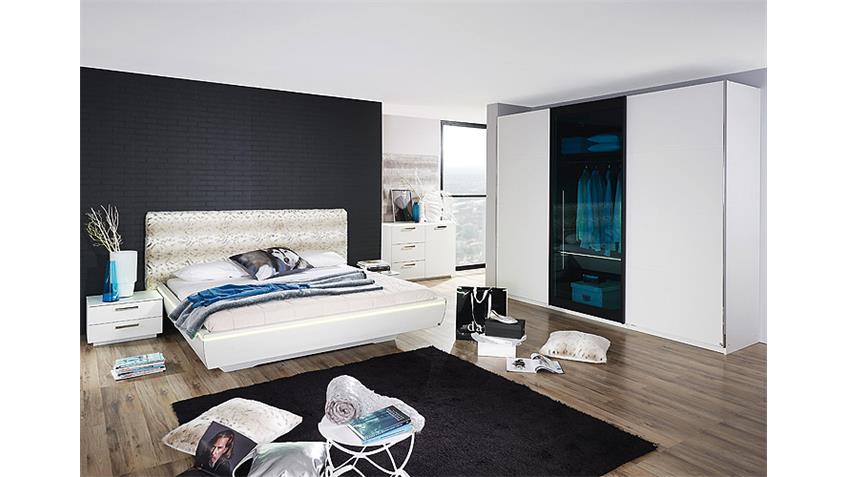 Bett LAHTI Weiß Pelz inklusive Beleuchtung 160 cm
