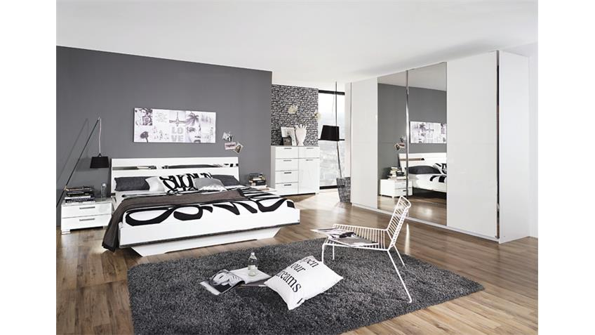 Bett DENIA Weiß Hochglanz Chrom Spiegel 180x200