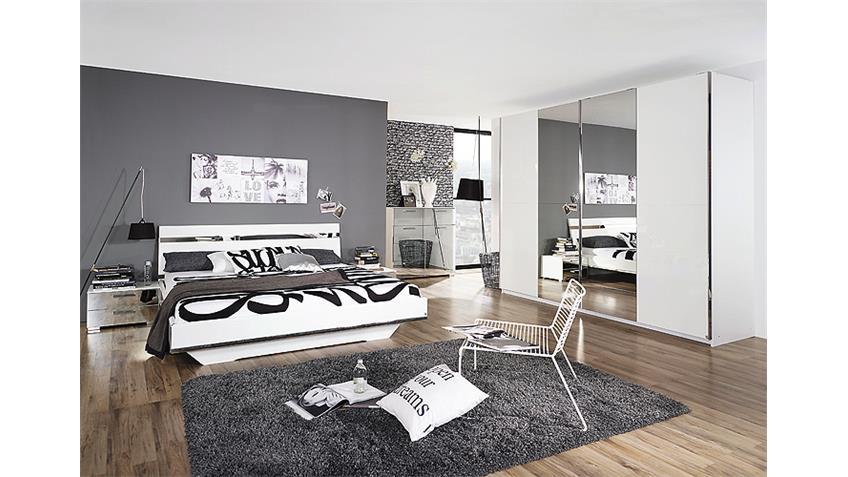Schlafzimmer-Set DENIA Weiß Hochglanz Spiegel Chrom