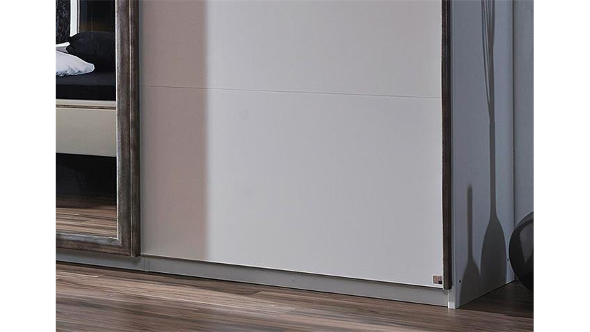 Schwebetürenschrank TAYA Weiß Antik Silber 316 cm
