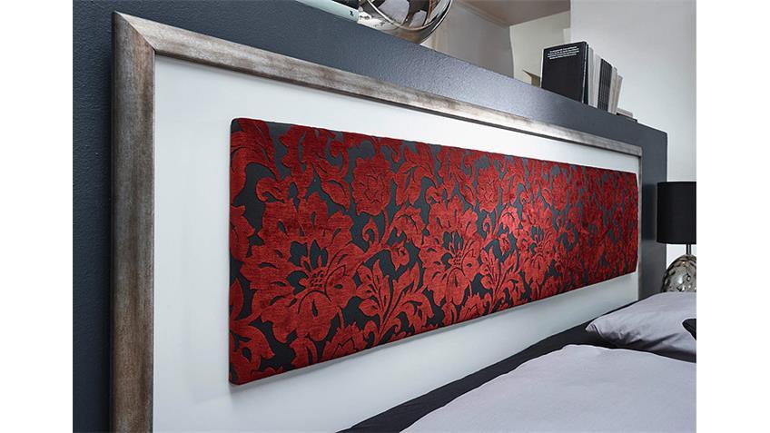Schlafzimmer Set TAYA in weiß rot und antik Silber