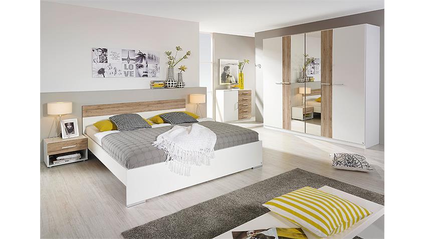 Schlafzimmer BADALONA Weiß San Remo Eiche hell