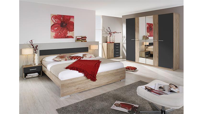 Schlafzimmer BADALONA San Remo Eiche hell und Grau-Metallic