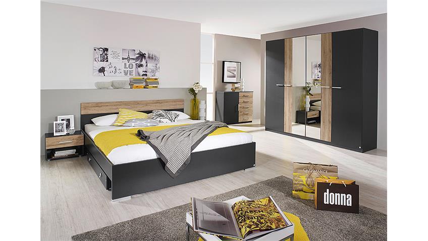 Schlafzimmer BADALONA Grau-Metallic und San Remo Eiche hell