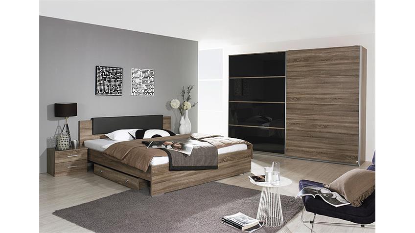 Bett CHOLET Schlafzimmerbett in Havanna Eiche 180x200 cm