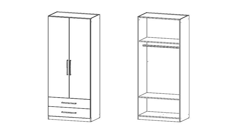 Kleiderschrank POTSDAM Schrank in weiß und Lavagrau 91 cm