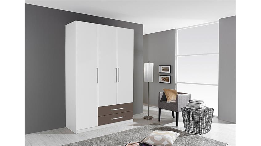 Kleiderschrank POTSDAM Schlafzimmerschrank in weiß lavagrau