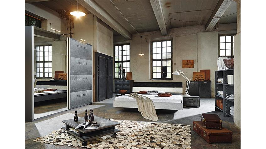 Bett WORKBASE Schwarz Silber Industrieoptik 180