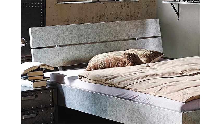 Bett WORKBASE Doppelbett in Silber Industrieoptik 140 cm