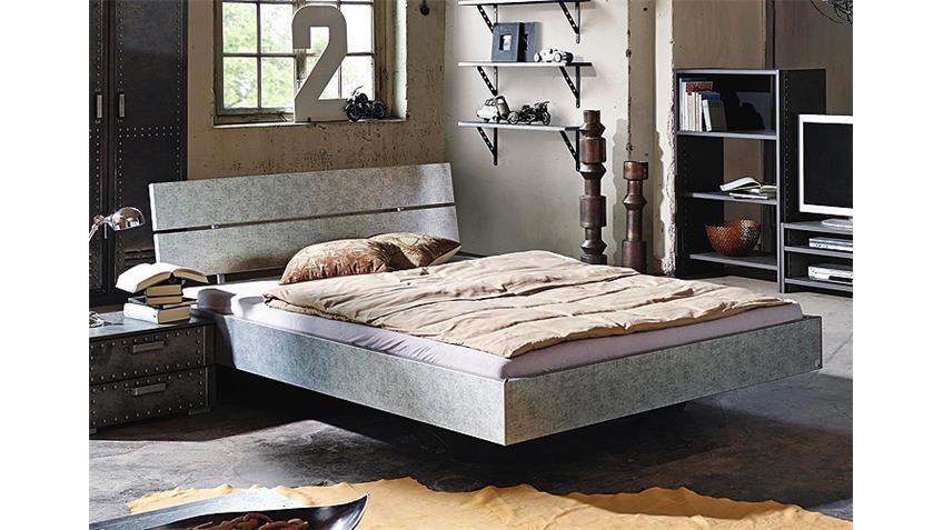 Bett WORKBASE Doppelbett in Silber Industrieoptik 180 cm