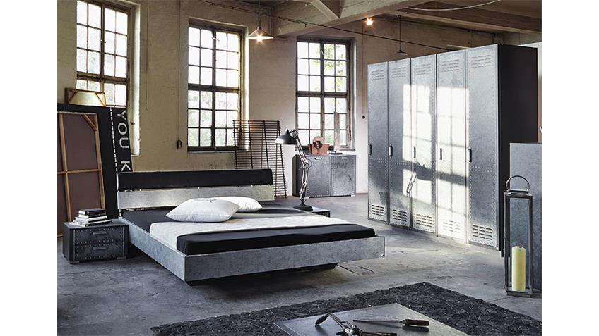 Schlafzimmerset 3 WORKBASE Industrieoptik Graphit