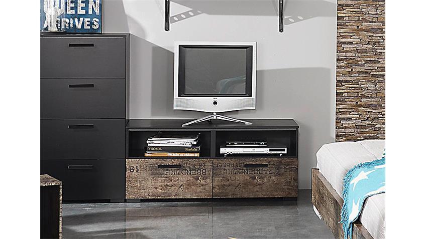 TV-Board SUMATRA TV Unterteil in Vintage braun und schwarz