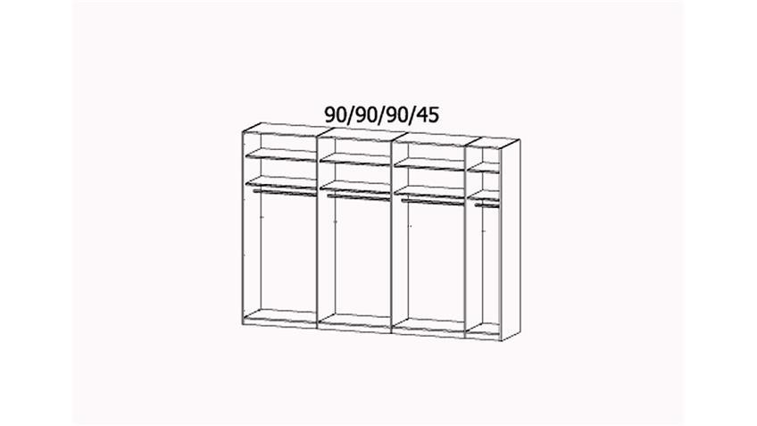 Schwebetürenschrank X-TEND Weiß Hochglanz Spiegel Rahmen