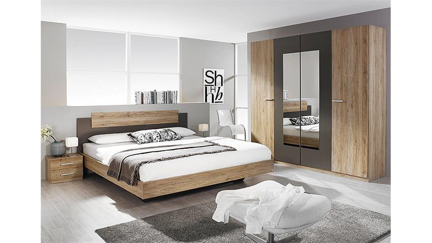 Schlafzimmer-Set BORBA Eiche Sanremo hell und Lavagrau