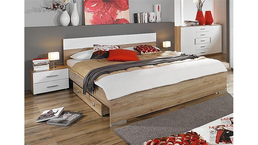 Schlafzimmer-Set LORCA Eiche Sanremo  Weiß Hochglanz