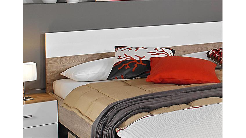 Bettanlage LORCA Eiche Sanremo und Weiß Hochglanz 180x200